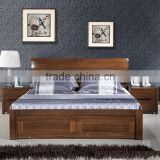 Pure black walnut real wood contracted and contemporary high box storage marital bed walnut wood furniture