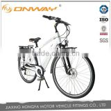 28 inch 700C man Electric Bicycle with integrated battery outer 6 spd gear 8fun center motor