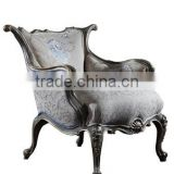 Replica French Style Palace Bedroom Furniture, Solid Wood Carved Sofa Chair Luxury Upholstery Wing Back Single Chair