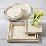 High end quality best selling set of special newest designed MOP inlay round and rectangular serving Tray from Vietnam