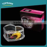 Toprank New Style Heart Shaped Clear Acrylic Cosmetic Makeup Organizer Case Flip Cover Acrylic Cosmetic Storage Box
