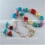 Gemstone Necklace & Earrings Set, with Lampwork Beads, Shell Pearl, Turquoise, Coral, Amethyst