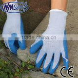 NMSAFETY 10 gauge grey polyester liner work gloves dipped blue latex glove factory price safety gloves wholesaler