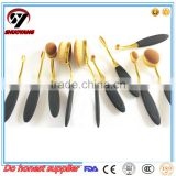 Professional black golden/black silver/rose golden hair fan makeup brushes facial powder cosmetics brush beauty tools