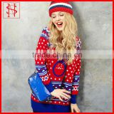 Sweet Autumn/winter Christmas jumper fashion jacquard rabbit heavy colorful sweater wool