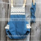 Navy Style Denim Toddle Overalls Summer Baby Clothes Wholesale Boutique Lace Tassels Romper