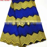 Pretty african lace fabrics gold and blue french net lace with stone for party dress