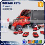 Kids diecast model car firefighting toy container truck set
