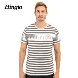 2016 high quality cotton custom black white marled stripe/pinstripe t shirts men crew neck and short sleeve design