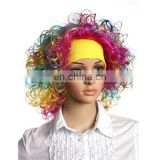 MCW-0427 Party Masquerade synthetic short women Hot curly yellow blue pink wig