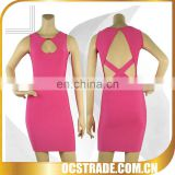 2014 special design sleeveless cut off bandage dress sexy student dress