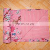 Indian Handmade Pink Bird Floral Kantha Bedspread Quilt Throw Coverlet Decorative Gudari Art Indian Textile Queen Size Blanket
