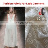 Thin silk slip lace embroidery fabric for ladies fashion dresses