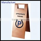 Rose Gold Folding metal Parking floor stand sign_ Pedestal Signs Stand_Portable Hotel Parking Signs manufacturer