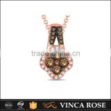 Multi-function silver brown stone flower wholesale fashion doll pendant necklace