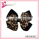 2013 Hot sale fashonable delicate charming animal leopard pattern no fade double layers ribbon bow hair clip (DW--0035)