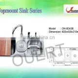 OH-8243B 2013 Newest Stainless Steel Sink, SUS 304 or SUS 201, Double Bowl Kitchen Sink WIth Dustbin