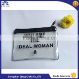 Customized branded name pvc stitching zipper pouch,pvc transparent pouch                                                                                                         Supplier's Choice