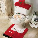 Hot Selling Santa Snowman Toilet Seat Cover and Rug Bathroom Set Contour Rug Decoration For Christmas