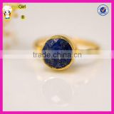Beauty blue stone silver ring gold plated lapis lazuli designer ring