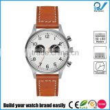 Sporting optimum performance chronograph function tan leather strap natural stitching auto racing watch