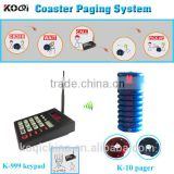 Wireless Queue System with transmitter keypad coaster pager for restaurant vibrating pagers