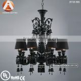 8 Light Baccarat Black Cristal Lustre with Black Lampshade