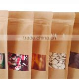 Square Block Qual Seal Flat Bottom Gusset Ziplock Stand up Kraft Paper Bag with Clear Window and Zipper
