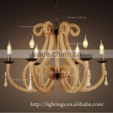 decor home rh retro industrial pendant lighting fixture,antique iron and hemp rope chandelier