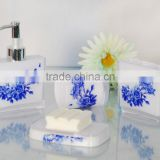 China flower blue Plastic bathroom set/Tumbler / Soap dispenser / Soap dish / Toothbrush holder