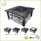 Multi-Function outdoor and indoor fire pit/steel and tiles BBQ grill style fire pit cover