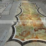 lobby marble flooring design with pakistan green onyx