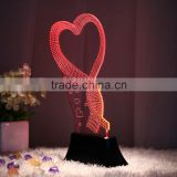 Loving heart shape acrylic + rectangle lighted display base 3d optical illusions decorative led night light night lamp source