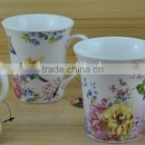 14OZ bird with flower fully decal printed ceramic mug, shiny surface new bone china coffee cup, KL5001-10702