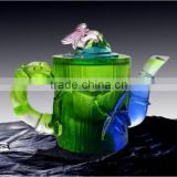 contented bamboo teacup liuli colored crystal crafts tea sets