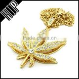 Hip Hop Mens Gold Tone Iced Out Maple Leaf Necklace