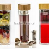 Mochic Hot sale Promotional custom double wall glass tea infuser water bottle BPA free with bamboo lid & filter