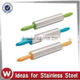 Stainless Steel Rolling Pin With Plastic Handle