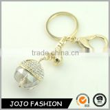 Fashion simple design ball shape metal gold plated bead rhinestone key ring                                                                                                         Supplier's Choice