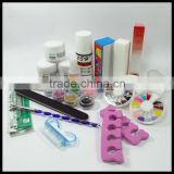 Acrylic Nail Art Powder Liquid Brushes Rhinestones Full Kit Set HN1293