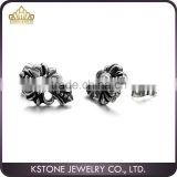 KSTONE High Polished Stainless Steel Rhinestone Men Black Cross Stud Earrings