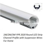 1M/2M/3M YPR2020 Round Aluminum Tape Light Channel with Suspension Wires For Home