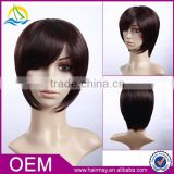 Wet and wavy cheap lace front wig short wig synthetic bang wholesale european kosher wig distributor