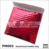 anti-moisture red aluminized bubble packaging bags,red metallized foil bubble clothe packaging bags