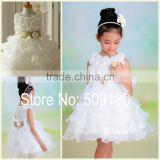 Lovely White Sleeveless Knee Length Custom Made Vestidos Girl Dress for Wedding Ball Gown FG020 flower girl dress patterns