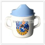 Children safe melamine infant mugs with 2handles & lid, FDA baby sippy cup