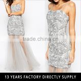 Wholesale ladies silver sequin evening party wear gown latest luxury party wear dresses for girls
