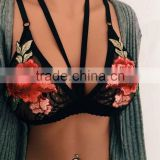 Wholesale fashion black white sexy Newly Design ladies Push Up Lace Embroidered Bustier Strappy bra