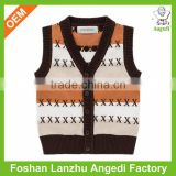 2016 custom Kids knit vest jumper winter sweater with button-up baby cardigan