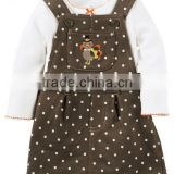 Casual design 2 pcs newborn baby clothes cotton baby romper with sleeveless smocked overalls girls thanksgiving suit